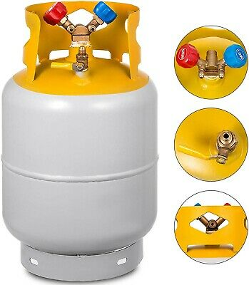 Bestauto Recovery Tank Gray and Yellow 30lb Refrigerant Recovery Reclaim 30lb Cy