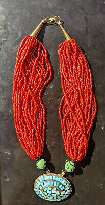 Antique Chinese Multiple Strand Red Coral Bead Necklace with Pedant