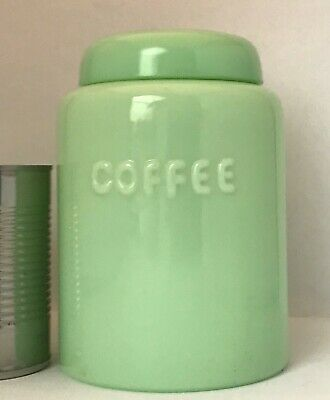 """JADEITE Jade-Ite GLASS Vintage COFFEE CANISTER RARE Anchor Hocking Fire-King 7"""""""