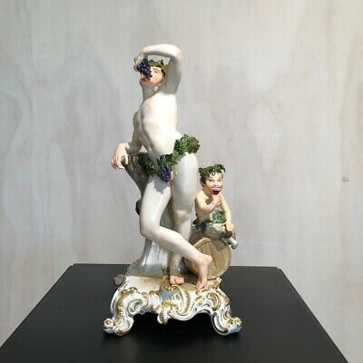 Large Meissen figure of Bacchus, with faun, c. 1880