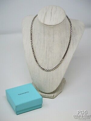 "Tiffany & Co Venetian Box Link Sterling Silver .925 Necklace 17"" 36.3 gr 16523"