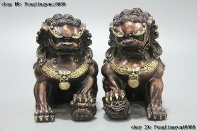 "6"" Chinese Royal Fensghui Animal Red Bronze Copper Foo Dog Guardian Lion Statue"