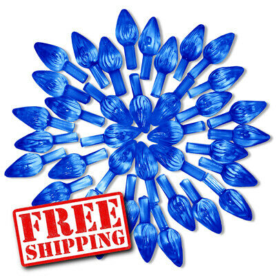 50 Dk Blue Replacement Medium Twist Light Bulbs Pegs for Ceramic Christmas Trees