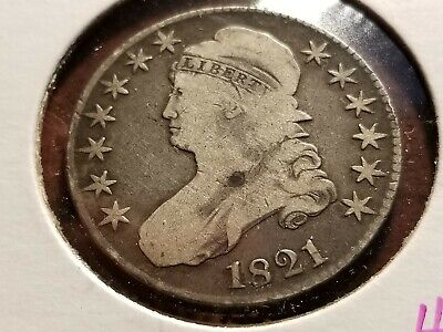 1821 Capped Bust Silver Half Dollar, full date, full liberty      INV09    H381