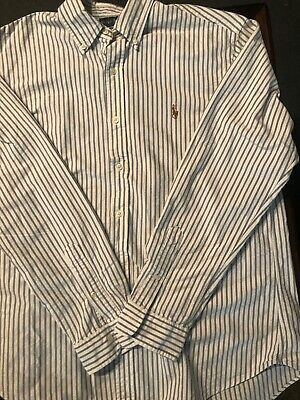 Polo By Ralph Lauren Custom Fit Mens Long Sleeve Button Down Dress Shirt Large