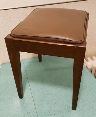 Vintage Brown Mid Century Modern Padded End Table Foot Stool