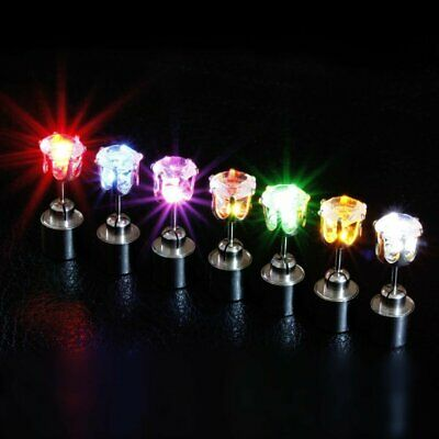 LED Flashing Earrings Ear Studs Glow Light Up Lighting Rave Party Christmas Xmas