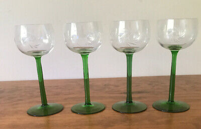 Crystal Green Stem Hock Vintage Etched Wine Glasses X 4 (16.5cm High)