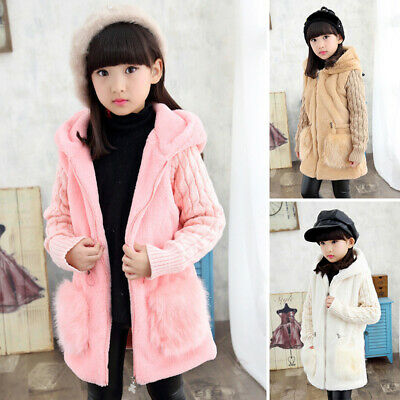 Kids Baby Girls Winter Warm Hooded Coat Toddler Fur Fleece Jacket Plush Outwear