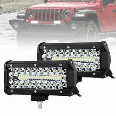 "2Pc 160W LED Work Light 7"" Triple Row Spot Flood Auxiliary Offroad Driving Light"