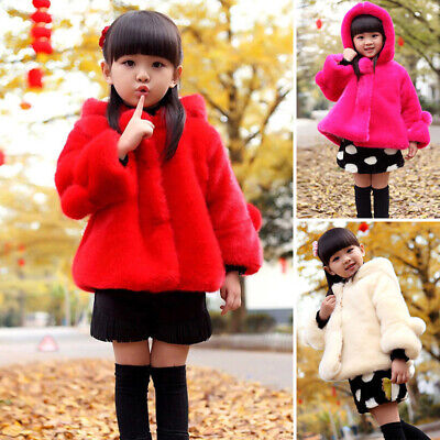 Kids Girls Winter Warm Faux Fur Jacket Hooded Fluffy Short Coat Parka Outerwear
