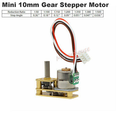 10mm DC 5V 2-Phase 4-Wire Micro Precision Full Metal Gearbox Gear Stepper Motor