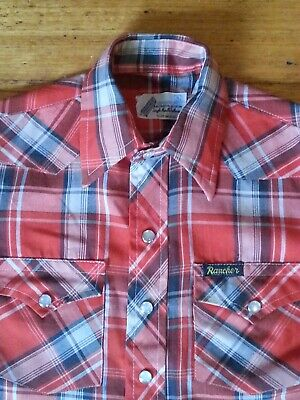 Vintage 1970s Rancher Western Shirt Childrens red check Size 4