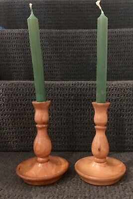 VINTAGE Pair of Wooden Candlestick Holders , Light wood, Nice for Dining Table .