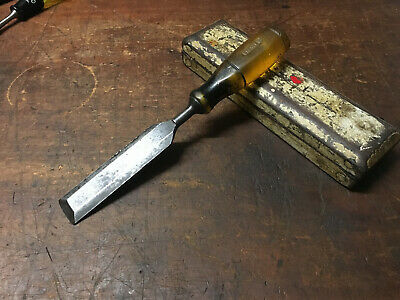"Vintage Stanley Bevel Edge Chisel Resin Handle 1 1/4"" Old woodwork Hand Tools"