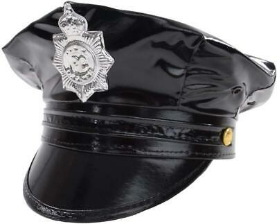 Mens Deluxe Leather Look Fancy Dress 1980s Police Cop Hat Cap Black by Smiffys