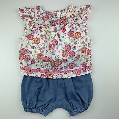 Girls size 1, Dymples, cute floral one-piece / romper, EUC