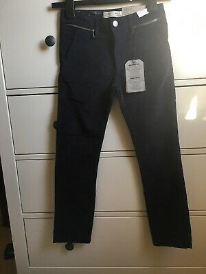 Zara Girls Slim Leg Navy Moleskin Trousers - Age 9 *Brand New*