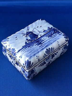 Small Blue and White Delft Holland Souvenir Pillow Shape Trinket Box Windmill