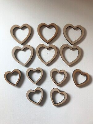 Wooden MDF Craft Shapes - Heart Outline - Mixed Sizes - Valentines - 12 Total