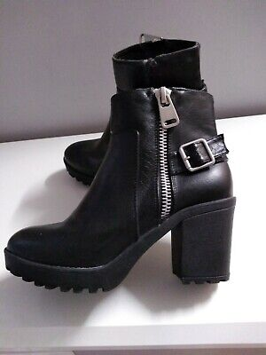 River Island Chunky Biker Style Boots Black Size 4 Ladies Womens Ex Cond