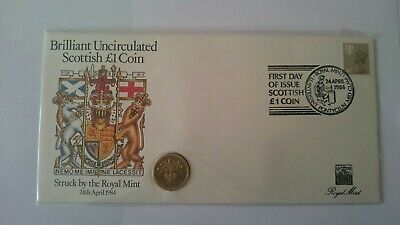 1984 UK Brilliant Uncirculated one pound £1 coin in a Scottish First Day Cover.