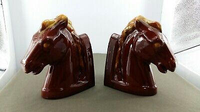 Blue Mountain Pottery Horse head bookends in Harvest Gold