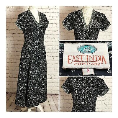 East India Company Vintage Black Dress with Ditsy Floral Print Size S Party
