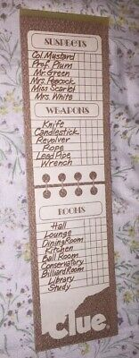 1979 Clue Board Game Replacement Parts and Pieces