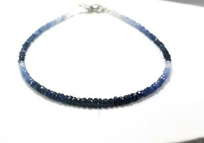 """Top Quality Shaded Blue Sapphire 3-4 mm Rondelle Faceted Gemstone Bracelet 7"""""""