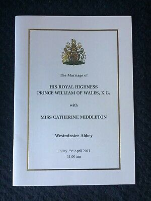 Order Of Service Prince William Royal Wedding Marriage Memorabilia Catherine