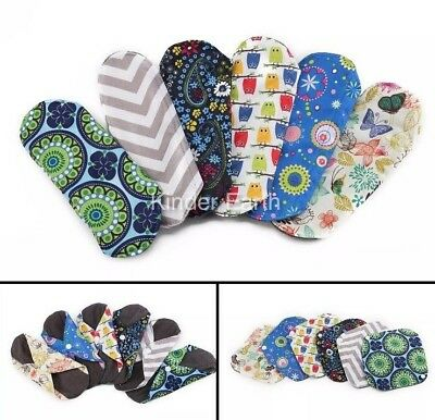 Reusable Washable Bamboo Cloth Panty Liner/Light Flow Sanitary Pads x5 F&F P&P