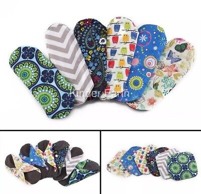 Reusable Washable Light Flow Sanitary Pads Bamboo Cloth Panty Liner x5 F&F P&P