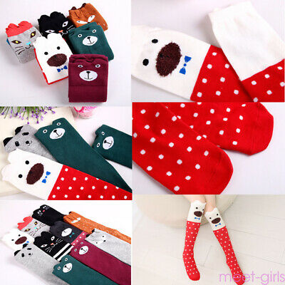 Girls Children Toddler Kids Animal Cartoon Character Knee High Socks 3-12 years