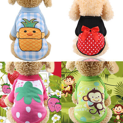 Pet Dog Clothes for Small Dog Fruit Print Sweater Puppy Chihuahua Winter Warm