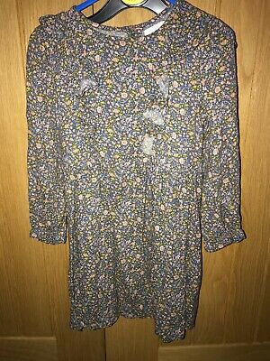 Girls Aged 3-4 Years Next Floral Long Sleeve  Dress, Ex Cond