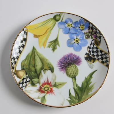 NEW! Set of 4 Mackenzie Childs THISTLE & BEE Bread & Butter Plates Courtly Check