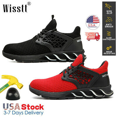 Mens Womens Safety Shoes Steel Toe Work Boots Indestructible Sport Mesh Sneakers