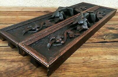Big antique pair of black forest wood furniture drawer fronts early 1900 France
