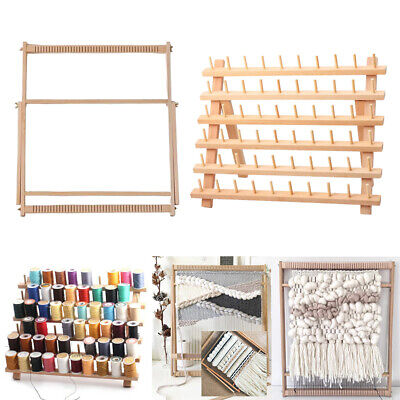 Multi-function Wooden Loom and 60 Spools Thread Rack Weaving Woven Loom Kit