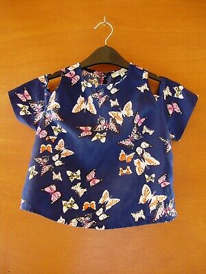 Innocence Blue & Butterflies Short Sleeved Top Size Age 8 - Selling For Charity