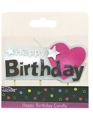 Happy Birthday Heart Block Candle Pick Cake Party Topper