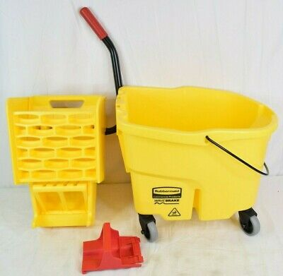 Rubbermaid WaveBrake Mopping Bucket and Side-Press Wringer Combo 35 qt Yellow