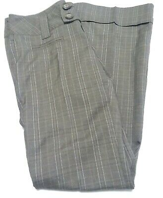 Space Girls Womens Pants Brown Stripe Low Rise Zip Button Cuffed Wide Leg sz 7
