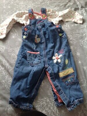 Girls Denim Dungarees & Long Sleeved Top Size 3-6 Months By George
