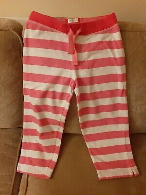 Girls Mini Boden pink and white striped cropped joggers age 10 yrs