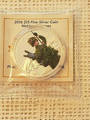 National Heroes Colour Proof $15 Silver Coin .9999 Fine.2016 Canada Police