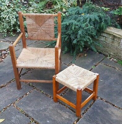 VINTAGE WOVEN CORD SEAT CHAIR and Matching STOOL