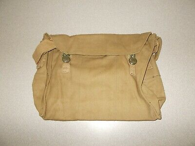 Vintage Czech army surplus button type canvas gas mask carry storage bag used