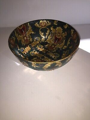 """Large Vintage Chinese Hand Painted Porcelain Bowl Raised Bead Work 6"""" X 10.5"""""""